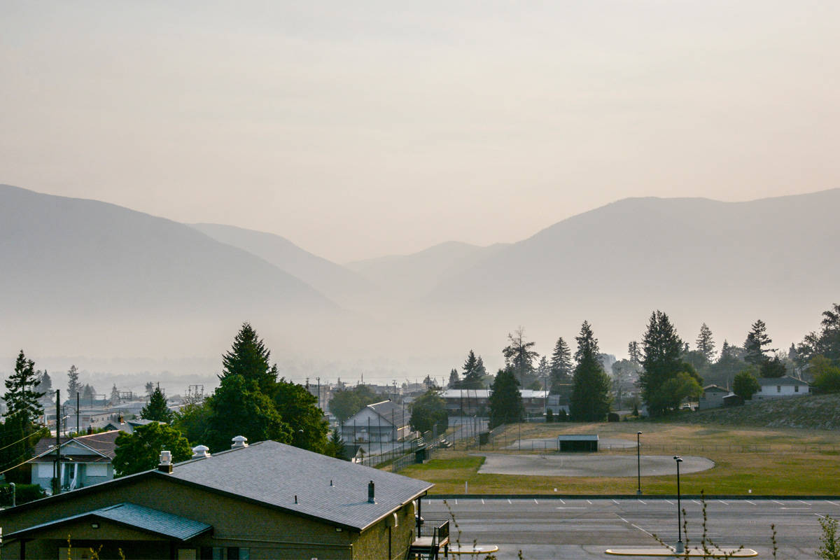 Smoke hangs over the air in Creston. The West Kootenay was ranked as having Canada's worst air quality on Monday. Photo: Kelsey Yates